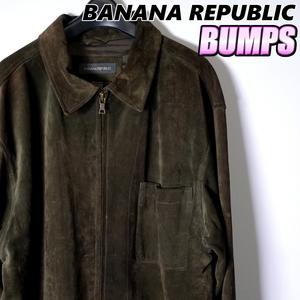 バナナリパブリック スウェードレザージャケット メンズ M フルジップ アウター ジャンパー カジュアル アメリカ 古着 MBR-6-3-0002
