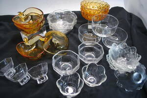 ku77 glass plate /20 point and more / small bowl / middle pot / apple type / flower type / clear / Brown / simple