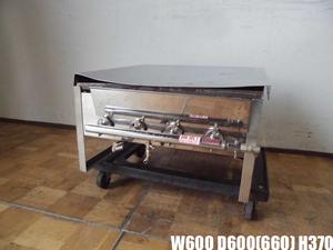 中古厨房 業務用 卓上 グリドル 鉄板焼き台 バーナー4本 都市ガス 焼きそば お好み焼き 屋台 祭り 蓋付き W600×D600(660)×H370mm