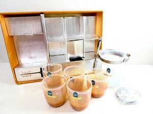 昭和レトロ・レア 未使用品▲Seyei セーエー陶器 Opal GALSS ガラス製アイスペール 氷入れ アイストング付 グラス5客 箱有 管理2007 U-8