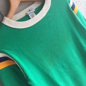 U.S Used Clothing BEAMS BOY Rib Long Sleeve Tee Shirt アメリカ古着 ビームスボーイ リブ生地 切り替え 長袖 Tシャツ S size グリーン