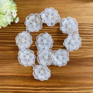 お花 レース フラワー 花柄 飾り 衣装 ハンドメイド 10個セット 丸型