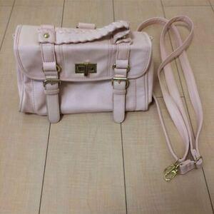 ショルダーバッグ ピンク ハンドバッグ リュック ショルダー ドット かわいい 桃色 シンプル 単色 新品 3way バッグ