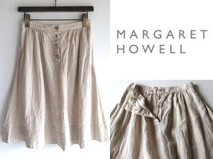 MARGARET HOWELL マーガレットハウエル 前ボタン リネンスカート ギャザースカート 1 オートミール エクリュ 麻100% 日本製 春夏 MHL.