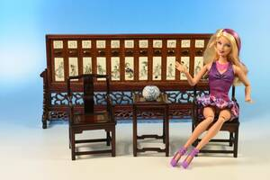 ミニチュア家具 「シノワズリ家具セット」椅子2客 サイドテーブル1客 工芸品
