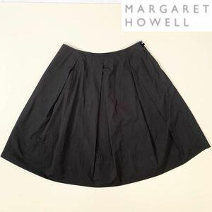 MARGARET HOWELL マーガレットハウエル コットンシルク タックフレアスカート 製品染め 2 / M 日本製 MHL. プリーツスカート