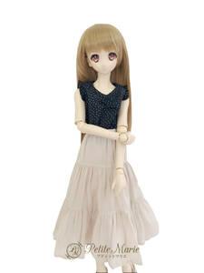 【Petite Marie】1/3 SD DD対応 ロング丈 軽やかになびくティアードスカート ベージュ 60cm ドール BJD 人形服【プティットマリエ】