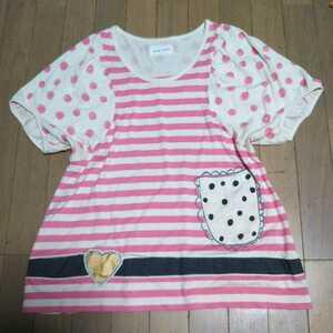 TSUMORI CHISATOツモリチサト★半袖チュニックカットソー♪ピンクの水玉ボーダー 夏にデニムに合いそう♪重ね着風腰ベルトポケットだまし絵