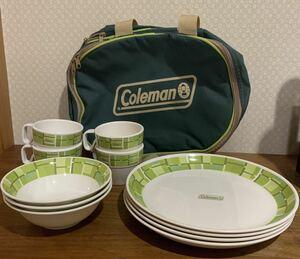 レア 美品 コールマン 廃盤 メラミン テーブルウェア セット カップ ボウル プレート バッグ ケース付き キャンプ 送料無料