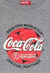 コカ・コーラ Coca-Cola サッカー ノベルティグッズ Tシャツ FIFA 日韓W杯 ワールドカップ worldcup W杯  2002年 半袖 グレー