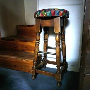英国 アンティーク ファブリックトップ パブスツール バースツール 丸椅子 イギリス 店舗什器