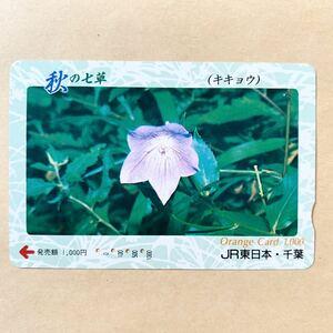 【使用済】 オレンジカード JR東日本 秋の七草 キキョウ