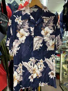 ビッグSale 【3L】 アロハシャツ ALOHA 半袖 オープンカラー 開襟 レーヨン100% ネイビー 紺 ハイビスカス 花柄 ハワイアン 新品 RB-06