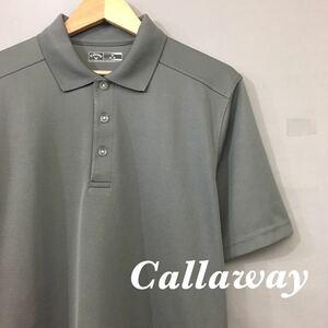 【美品・良品】キャロウェイ Callaway ゴルフ GOLF ドライポロシャツ 半袖 ハーフボタン トップス グレー メンズ 男性用 Mサイズ ♭▽