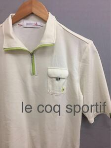 【美品 良品】ルコック スポルティフ le coq sportif ゴルフ ハーフジップ ウェア 半袖 ホワイト メンズ Lサイズ !★&