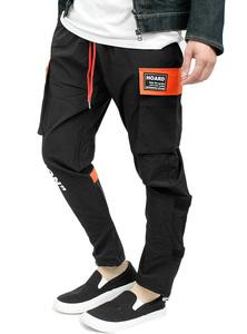 [  Новый товар  ]  44  черный  x  оранжевый   Cargo  брюки   Мужской   печать   Отрегулируйте   ...  есть  может   протяжение   Нейлон брюки