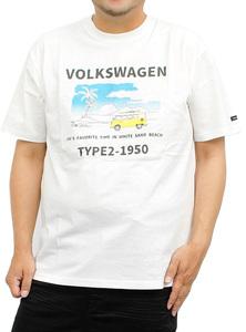 【新品】 2L ホワイト07 VOLKSWAGEN フォルクスワーゲン 半袖 Tシャツ メンズ 大きいサイズ プリント クルーネック カットソ