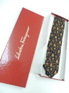 ◆ 新品 同様 正規 本物 サルヴァトーレ フェラガモ Salvatore Ferragamo イタリア製 シルク ネクタイ 象 エレファント柄