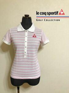 le coq sportif GOLF ルコック ゴルフ レディース ボーダー 鹿の子 ポロシャツ トップス サイズM 半袖 白 ピンク QGL1727 デサント