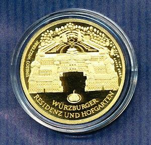 ドイツ 100ユーロ記念金貨PP ユネスコ世界遺産都市 ヴォルツブルク城 2010年