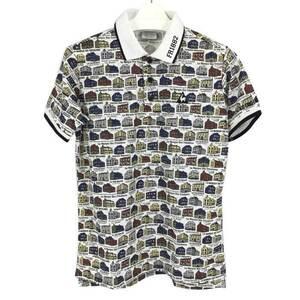ルコック スポルティフ le coq sportif ポロシャツ 半袖 総柄 M ホワイト