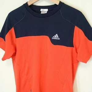 S【adidas/アディダス】MENS/メンズ 男性用 トップス 半袖 シャツ スポーツ ジム マラソン ランニング ジョギング トレーニング 紺×赤