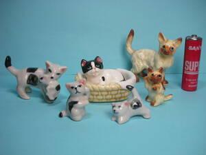 小さくて可愛い ねこ ネコ 猫 仔猫をくわえる親猫、バスケットの中の猫 親子ねこ 陶器製 人形 まとめて