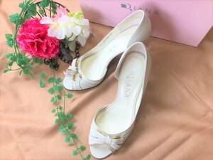 200707〇DIANA*パンプス*ダイアナ*白*レザー*22㎝*小さいサイズ*日本製*サンダル*ミュール*靴*オープントゥ*レディース〇