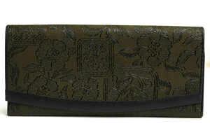 美品!INDEN-YA 印傳屋 印伝 長財布 鹿革×漆 フラップ型 小銭入れあり 日本製 レディース レザー 革 w5021
