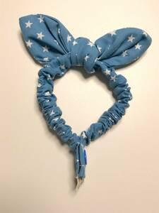 ハンドメイド 猫 首輪 スカーフスタイル ③ スター柄 ブルー Sサイズ ゴム スナップボタン ねこ 青 vivi_jpcat