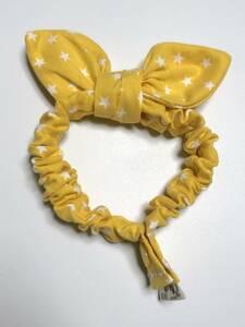 ハンドメイド 猫 首輪 スカーフスタイル ④ スター柄 イエロー Mサイズ ゴム スナップボタン ねこ 黄色 vivi_jpcat