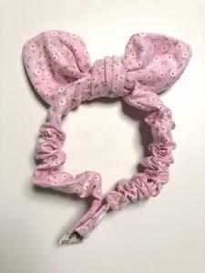 ハンドメイド 猫 首輪 スカーフスタイル ⑤ フラワー柄 ピンク Mサイズ ゴム スナップボタン ねこ vivi_jpcat