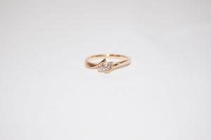 4℃ ヨンドシー K18 ダイヤモンド リング 指輪 サイズ約6号 4月誕生石 レディスリング 美品!