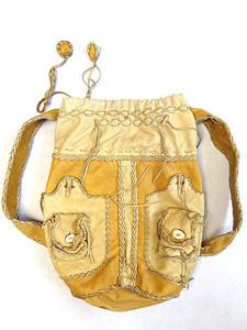 ビンテージ 究極 70S オール ハンドメイド ディアスキン レザー バッグ リュック 角 ボタン ステッチ レア 鹿 イーストウエスト ヌメ革 鞄