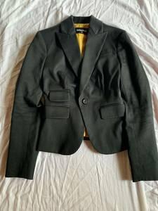 DSQUARED2 ディースクエアード テーラードジャケット 高級 マスタードカラー 黒 コットン