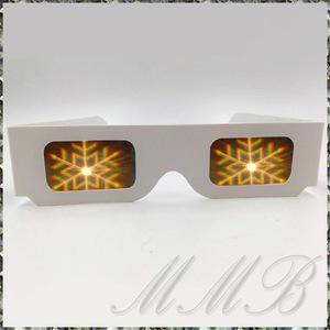 Rainbow Prism 3d Glasses 夜景 眼鏡 ロマンチックイルミネーショングラス メガネ 花火めがね (雪の結晶SNOWFRAKE) 【送料無料】