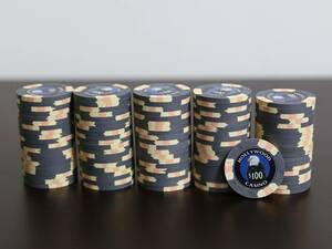 最上級 Paulson クレイ 送料込 美品 新品同様 カジノチップ ポールソン ルーレット ブラックジャック バカラ ポーカー POKER $100 粘土