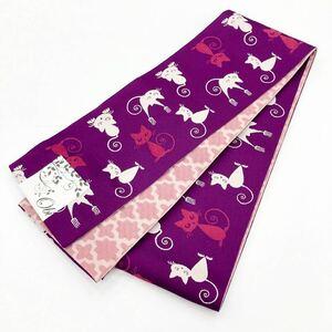 ☆新品☆卒業袴・浴衣・着物 紫系猫模様半巾帯 8