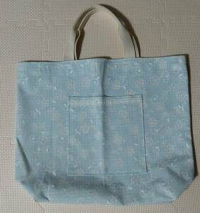 ハンドメイド トートバッグ かばん エコバッグ 水色 花 手作り
