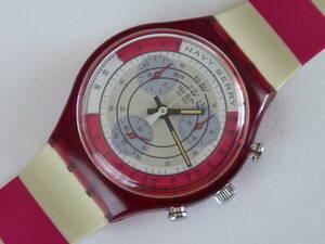 未使用電池交換済 稼働中 スウォッチ Swatch 1991年モデル 初期クロノ 白赤ストライプ ネイビーベリー NAVY BERRY 品番SCR100