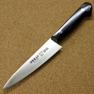 関の刃物 ペティナイフ 12cm (120mm) 伊勢屋治平 8A モリブデン ステンレス 黒パッカー 果物包丁 野菜 果物の皮むき 小型両刃ナイフ 日本製