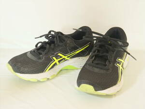 ★asics アシックス/ランニングシューズ/GT-1000/22.0cm/黒×黄ライン/スニーカー/靴