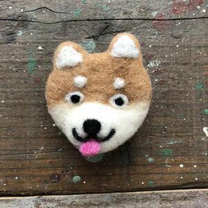 オリジナル 羊毛フェルト 芝犬 犬 しば犬 ブローチ ハンドメイド 犬 アクセサリー A