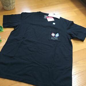 【新品即決】ユニクロ×ウルトラマン半袖Tシャツ XLサイズ ガイア&アグル柄黒UTブラック