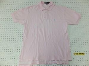 〈送料280円〉Polo by Ralph Lauren ラルフローレン メンズ ワンポイント刺繍 鹿の子 半袖ポロシャツ M ピンク