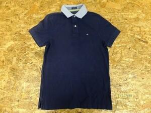 〈送料280円〉TOMMY HILFIGER トミーヒルフィガー メンズ ロゴ刺繍 襟切替え 半袖ポロシャツ 小さいサイズ XS 紺