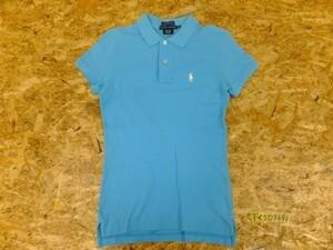 〈送料280円〉RALPH LAUREN ラルフローレン レディース THE SKINNY POLO ロゴ刺繍 半袖ポロシャツ 小さいサイズ XS 水色