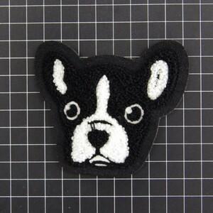 フレンチブルドッグ 犬 ブラック ポップ ハンドサイン 高密度刺繍 ロゴ パッチ ハンドメイドに ワッペン 新品