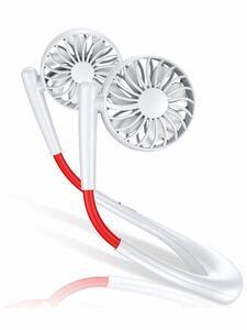 首掛け 首かけ扇風機ミニ扇風機 ハンズフリー扇風機 USB充電式 アウトドア 超静音 軽量 7枚羽根 携帯扇風機 3段階風量調節 360°角度調整
