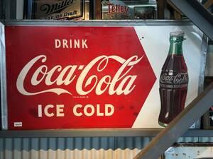 【アメリカ ヴィンテージ】Coca Cola コカコーラ ICE COLD看板 当時物